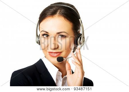 Happy woman as a phone operator in headset.