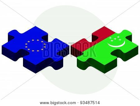 European Union And Turkmenistan Flags