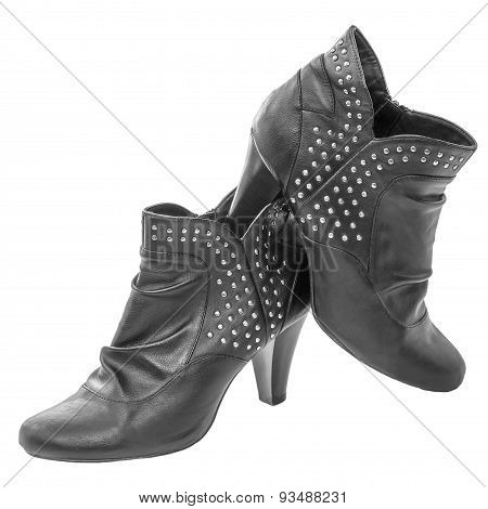 Ankle Boots Women's Black Leather Zipper High Heel Metal Rivet Decoration