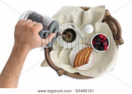 Man Pouring Fresh Breakfast Coffee