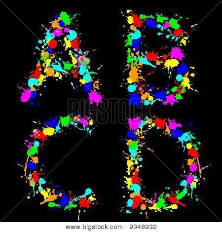 Alphabet color drop abcd