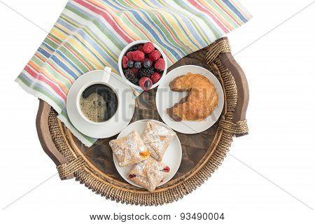 Tasty Morning Breakfast On A Wicker Tray