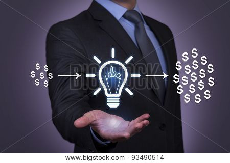 Dollar Idea on Businessman Hand