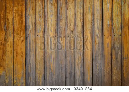painted old wooden wall. orange background, vector