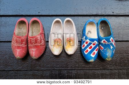 Wooden Shoes On A Wall