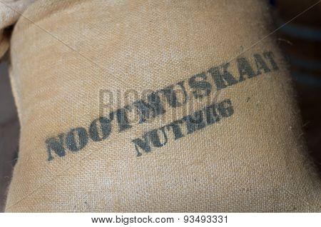 Nutmeg In A Jute Bag