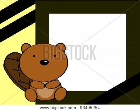 cute baby beaver background frame