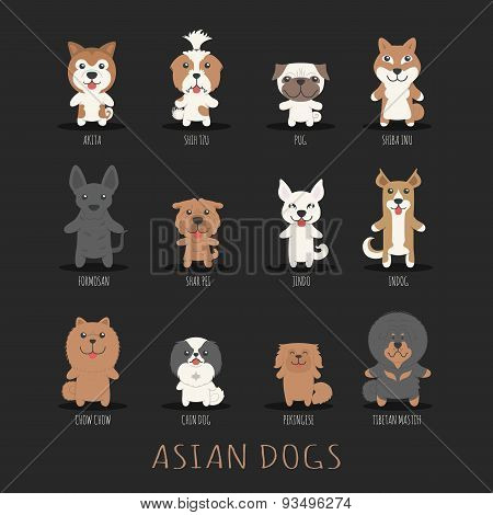 Set Of Asian Dogs