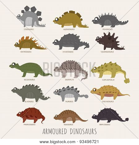 Set Of Armoured Dinosaurs