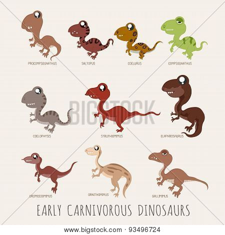 Set Of Early Carnivorous Dinosaurs