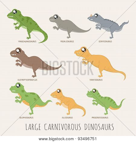 Set Of Large Carnivorous Dinosaurs
