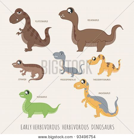 Set Of Early Herbivorous Herbivorous Dinosaurs
