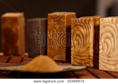 Still-life with natural soap bars.