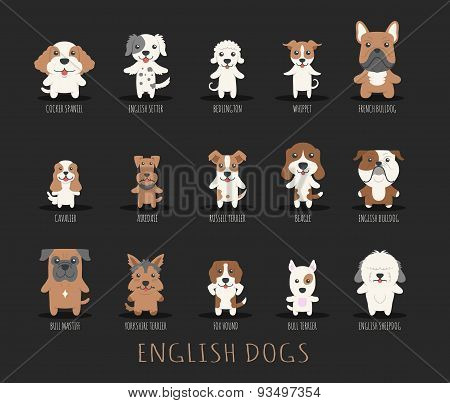 Set Of English Dogs