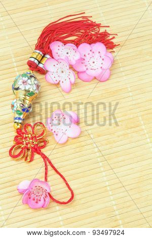 Chinese New Year Bottle Gourd Ornament on Bamboo Mat