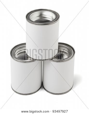 Stack of Three Tin Cans on White Background