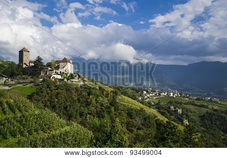 views of the castle and vineyards, South Tyrol, Italy