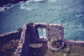 picture of cliffs moher  - Castle ruins on cliff in Ireland near ocean - JPG