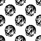 picture of lions-head  - Black and white african heraldic lion heads seamless pattern background in outline sketch style with shaggy mane and proud gaze - JPG