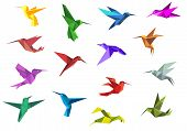foto of hummingbirds  - Flying origami paper hummingbirds or colibri isolated on white background - JPG