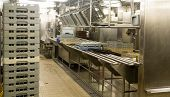 pic of dishwasher  - Modern stainless steel dishwashing equipment in a commercial kitchen - JPG