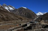 stock photo of cho-cho  - Phangga and distant view of Cho Oyu - JPG