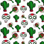 image of maracas  - Colorful seamless background with calaveras cactuses and traditional mexican musical instrument  - JPG
