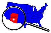 stock photo of united states map  - Arizona state outline set into a map of The United States of America with magnifying glass over a white background - JPG