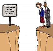 picture of cliffs  - Business cartoon of two businesspeople looking down from a cliff - JPG