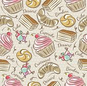 picture of bonbon  - Background with cupcake croissan cake and bonbon. Ideal for printing onto fabric and paper or scrap booking. - JPG