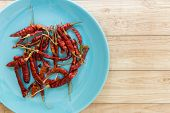 image of chillies  - Red dried chilli is one of Thai food - JPG