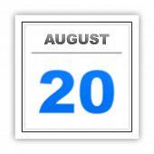 stock photo of august calendar  - August 20 - JPG