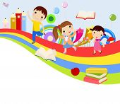 stock photo of playmates  - Vector illustration of cute group of children and rainbow - JPG
