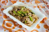foto of gai  - Stir fried rice noodle with porkThai style - JPG