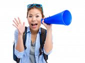 image of yell  - Young woman thrilled to use the megaphone for yelling - JPG
