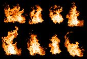 stock photo of flame  - Fire flames collection isolated on black background - JPG