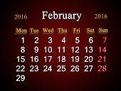 stock photo of february  - beautiful claret calendar on February of 2016 - JPG