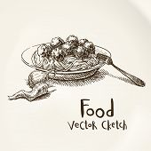 picture of meatball  - Vector vintage sketch plate with meatballs and spaghetti - JPG