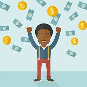 foto of money  - A young and cheerful african gentleman standing under falling raining money shower a coin and bill dollar money - JPG