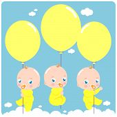 picture of triplets  - Vector Illustration of  cute newborn baby triplets flying in the sky holding  balloons - JPG