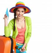 stock photo of boarding pass  - Woman tourist with travel suitcase and blue boarding pass - JPG