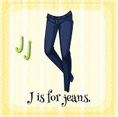 stock photo of letter j  - Flashcard letter J is for jeans - JPG