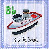 picture of letter b  - Flashcard letter B is for boat - JPG