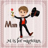 pic of letter m  - Flashcard letter M is for magician - JPG