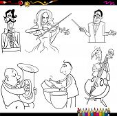 picture of timpani  - Coloring Book Cartoon Illustration of Musicians Playing Musical Instruments Characters Set - JPG