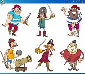 stock photo of cannonball  - Cartoon Illustrations Set of Fairy Tale or Fantasy Pirates Characters - JPG