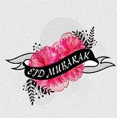 picture of muslim  - Beautiful pink flowers covered by black Eid Mubarak ribbon for muslim community festival celebration - JPG