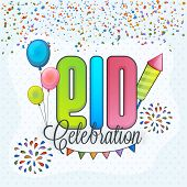foto of celebrate  - Colorful text Eid Celebration with bunting - JPG