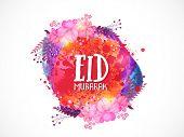 stock photo of eid festival celebration  - Stylish text Eid Mubarak on colorful splash and flowers for muslim community festival - JPG