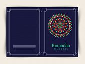 picture of ramadan mubarak card  - Blue greeting card design decorated with beautiful traditional floral pattern for Islamic holy month of prayers - JPG